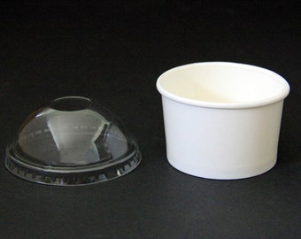 White Paper Cups (4 oz) with Plastic Dome Lids - 12 Quantity