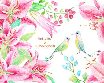 Lily clip art, watercolor pink lilies and a pair of hummingbirds printable instant download  for  wedding invitations