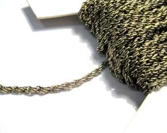 10 Ft Antique Bronze Braiding Link Chain 2x0.45mm(No. 706)