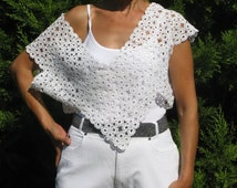 Retro chic wedding party clothing, Crochet Necklace, Crochet Collar, White Bib, Necklace, Floral Necklace, Body harness jewelry, size: S-M-L
