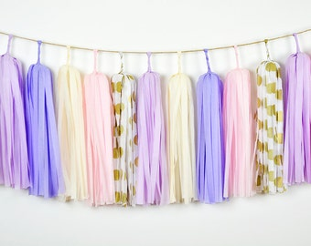 Gold Lilac Lavender Tassel Garland, Lavender Garland, Pink Purple Garland, Purple Baby Backdrop, Purple Gold Wedding, Purple Girls Nursery