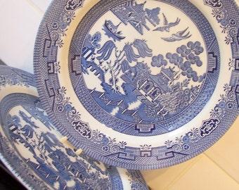 Churchill Willow Pattern Dinner Plate Vintage