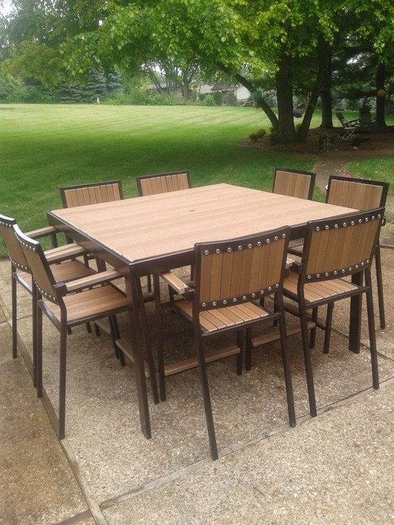 Industrial Style Patio Or Deck Set   Table And Chairs   100% Customizeable!