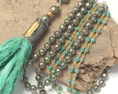 Boho Long Beaded Necklace - Sari Silk Tassel Necklace Multi Strand Necklace Soldered Tassel Cap Wire Wrapped Pyrite Necklace by loveandlulu