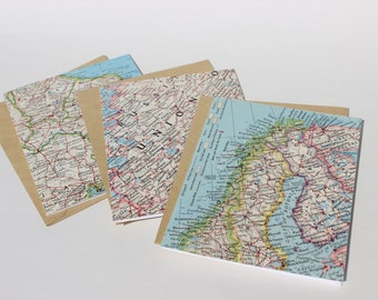 Vintage Map Card Set - Travel Card Set - Stationery Set Blank Cards - Map Note Cards - Greeting Card Set - Traveler Card - Blank Cards