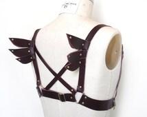 Sera Winged Leather Harness, Burgundy Leather, Steampunk, Cosplay Costume, Body Harness, Bondage BDSM, Burning Man, Gothic Lolita, Fetish