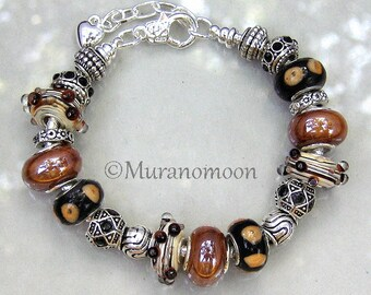 Coffee Brown Black Glass Bead European Bracelet Black Crystal Charm Beads Lampwork Beaded Glass Bracelet Earth Tone Jewelry Gift #EB1199