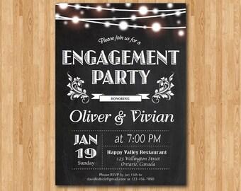Engagement Party invitation Wedding Rehearsal. Chalkboard. Engagement Dinner Invite. Black and White. String Light. Printable digital DIY