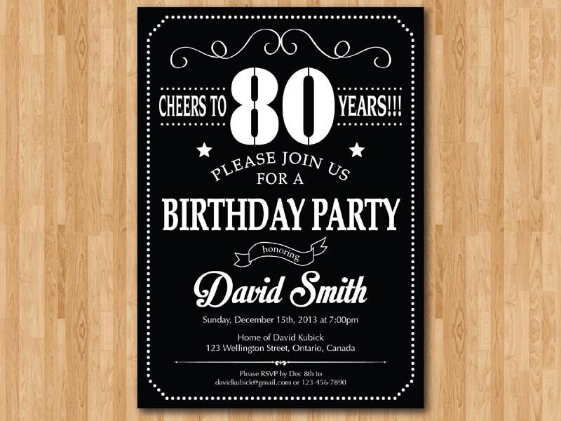 80th Birthday Invitation. 70th 90th 40th 50th 60th 100th Any