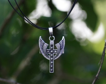 Cross + Wings, a necklace - leather cord or chain