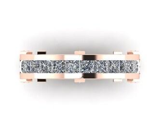 14k Solid Rose Gold Mens Wedding Band Ring Princess Cut Genuine Diamonds Channel Set Wedding Ring Mens Ring Gold Ring Diamond Band 6.59m