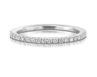 Platinum Diamond Wedding Band Round Diamonds .21ct French Pave Set Diamond Band Wedding Band Anniversary Band Wedding Ring