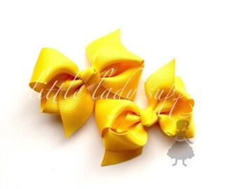 "Yellow Grosgrain Bows 2.5"", wholesale,  hair clips, bows"