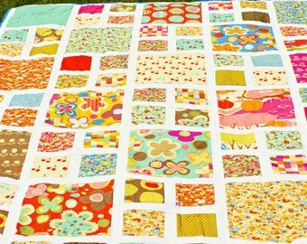 Mod double size modern patchwork quilt, gift for her, full size quilt, retro style quilt, green brown purple blue quilt