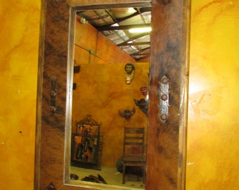 Cowhide Medallion Mirror #2-Wood-Mexican-22x36-Rustic-Cowboy-Clavos-NEW-Western-Lodge-Handmade-Custom