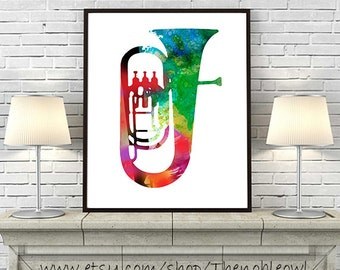 Music Art Print, music poster, Tuba Brass Instrument Watercolor Painting Rock Music Home Decor Wall Art - 344