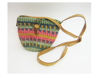 90s Small Woven Jute Bag