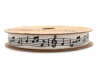 Musical Notes Print Cotton Ribbon, 5/8-inch, 10-yard
