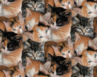 Cats All Over Fleece Fabric By The Yard