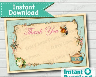 Alice in Wonderland Thank You Card. Instant download 4x6 inch. Turquoise Alice in wonderland thank you note. DIY digital file. BS007