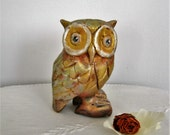 Wooden sculpture representing an OWL painted and patinated