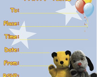 Handmade Birthday/Party Invites/Invitations. Sooty and Sweep. 10 pack.