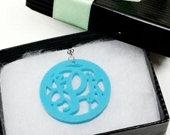 "Small 1.25"" Kids Turquoise Acrylic Monogram Necklace"