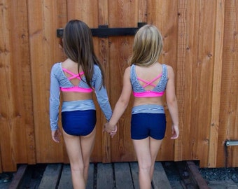 Dancewear. You choose style. Long sleeve, brief or shorts. Dance set sizes 2-14.