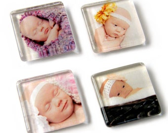 Set of 4, Custom Photo Magnets, Personalized Magnet, Photo Magnet, Picture Magnet, Baby Magnet, Custom Gift, Personalized Gift, Glass Magnet