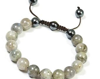 10mm Labradorite Bracelet, Mens Beaded Bracelet, Labradorite Shamballa Bracelet, Bead Bracelet Women, Natural Gemstone Bracelet Shamballa