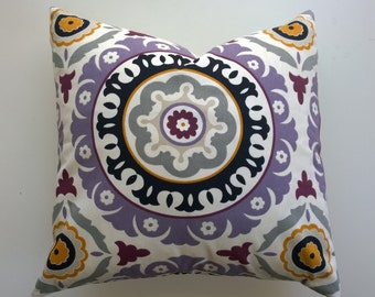 Pillow cover 22x22' purple pillow cover 22x22, suzani  throw pillow 22x22, Sale, zipper enclosure, throw cover 16x16, 18x18