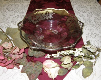 Vintage Scalloped Edge Silver Overlay Footed Centerpiece Bowl