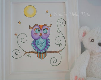 owl art, baby nursery, woodland theme, kids, children room, wall art, whimsical, watercolor