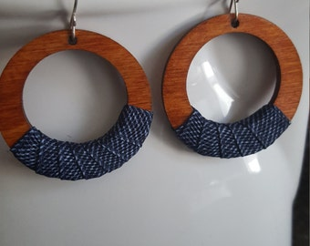 Denimwear Small wood & denim hoops with Sterling Silver Filled Earwires