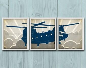 8x10 (3) NURSERY HELICOPTER Prints - Nursery Art, Nursery Decor, Children's Art, Transportation, Aviation - Chinook Helicopter
