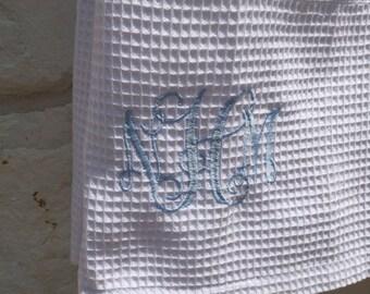Monogrammed Cotton Towel Wrap - Waffle Weave