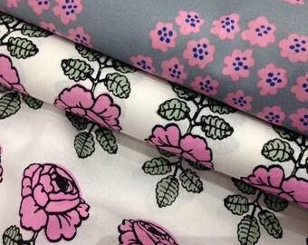 1 yard Marimekko fabrics: 1/2 yard Vihkiruusu pink, 1/2 yard Puketti Pink Grey