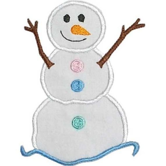 Snowman applique machine embroidery digital by happyapplique