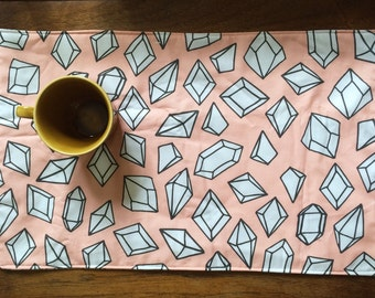 Cotton Mug Rug or Placemat- Pink Geometric Crystal Print