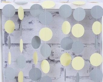 Yellow Gray Paper Garland - Yellow and Gray Baby Shower - Boy Baby Shower Garland