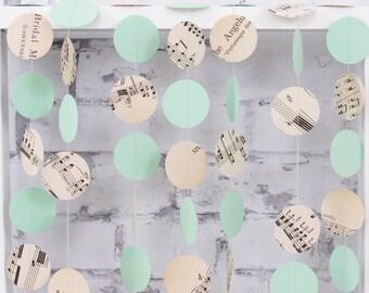 Mint Wedding Garland - Sheet Music Paper Garland - Vintage Wedding Decoration - Mint Green Circle Garland