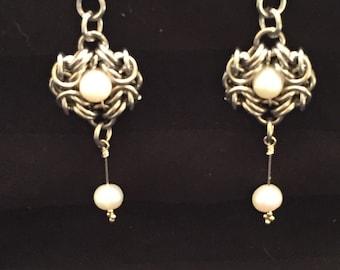 Pearls and steel earrings