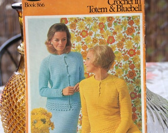 Vintage 1960's Crochet Designs in Totem and Bluebell Colour Paton's  Book no 866