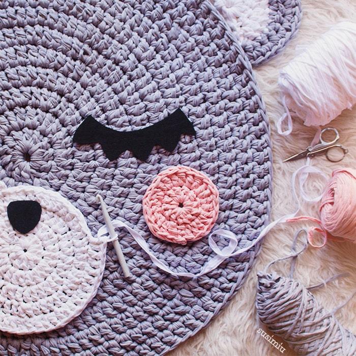 Child carpet of Trapillo model Teo bear head