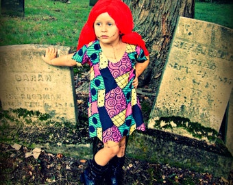 Nightmare Before Christmas cosplay costume dress Sally Stitches patchwork baby toddler or girls custom handmade