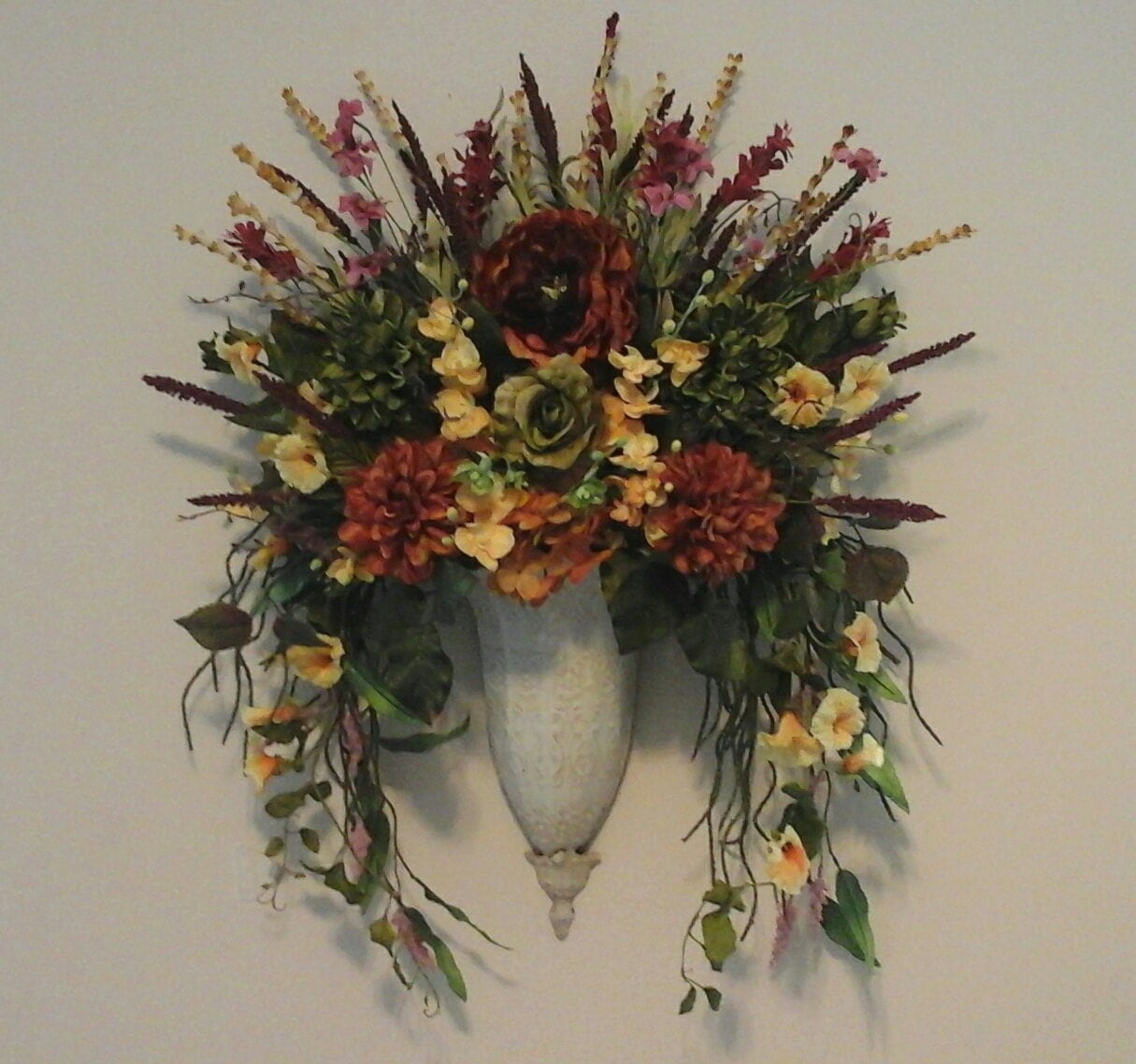 Wall Sconces With Flowers: Tuscan Floral Wall Sconce Fall Wall By GiftsByWhatABeautifu