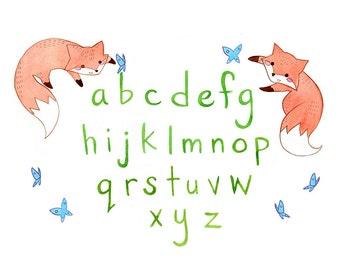 Children Art Print. Fox Alphabet. PRINT 8X10. Nursery Art Home Decor