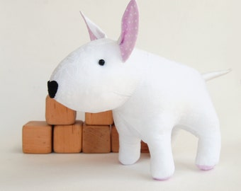 Sewing pattern stuffed dog, bullterrier toy for kids, pdf tutorial DIY