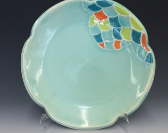Handmade Petal Lunch Plate, with Scallop Pattern. Glazed in Aqua with Turquoise, Lime & Orange Details. MA119