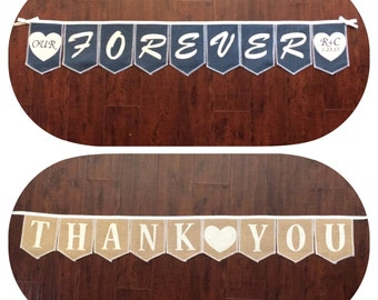 Reversible banner, dual sided bunting, personalized Forever banner, on one side and Thank You on the other side, Product ID# 2014-030